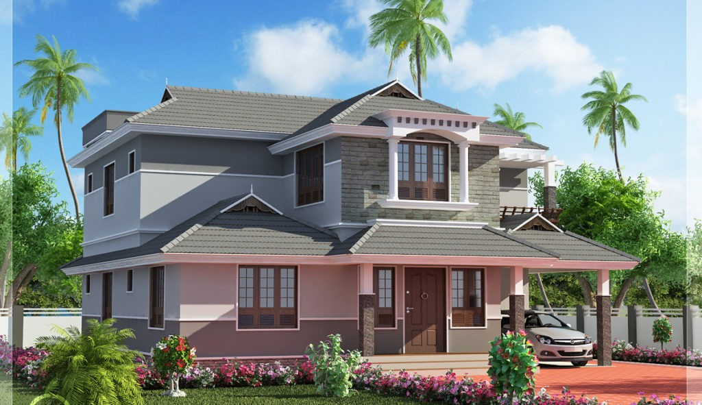 3447 Square Feet 4 Bedroom Double Floor Sloping Roof Home Design