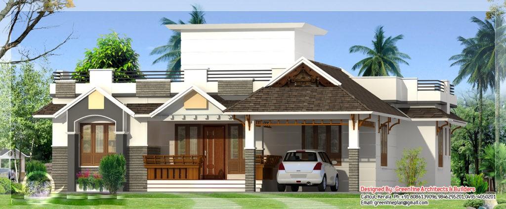 Kerala home designs photos in single floor 1250 sq ft - 1400 Square Feet 3 Bedroom Single Floor Home Design Home