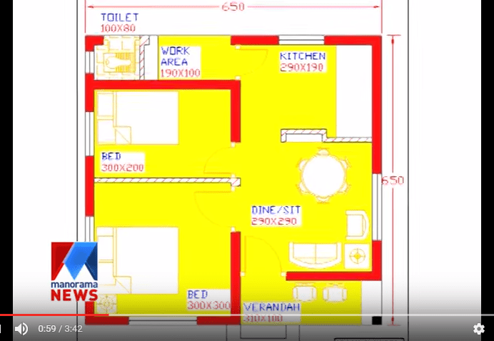 650 Square Feet 2 Bedroom Low Cost Home Design And Plan