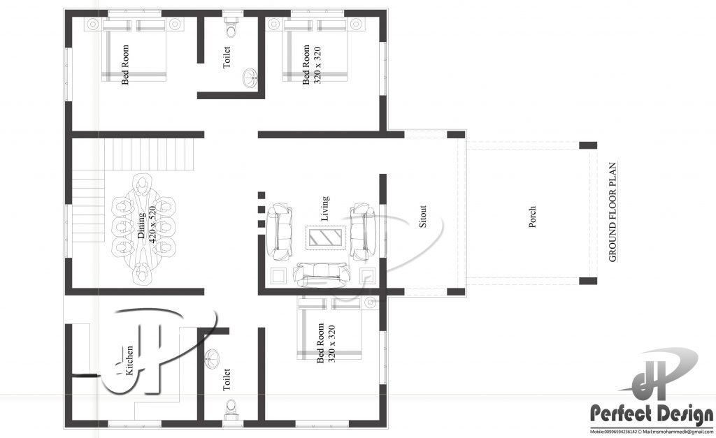1108 square feet 3 bedroom low cost single floor home for Low cost per square foot house plans