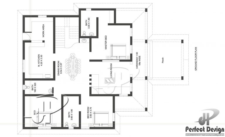 1592 square feet 3 bedroom single floor home design and for Kitchen design 80 square feet