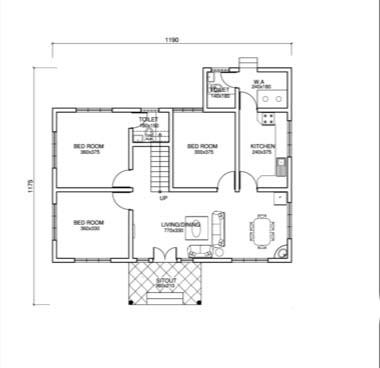 753 Square Feet 3 Bedroom Low Cost Single Floor Home