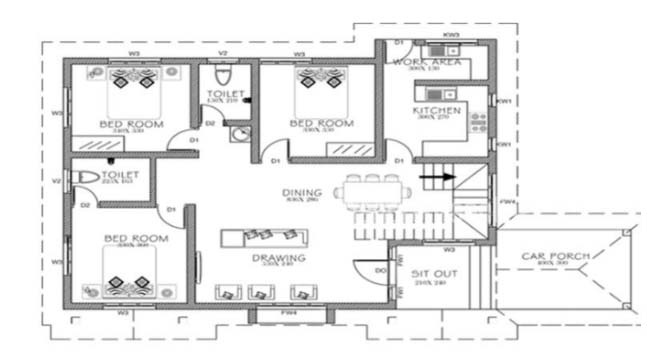 861 square feet 3 bedroom single floor low cost home for Low cost per square foot house plans