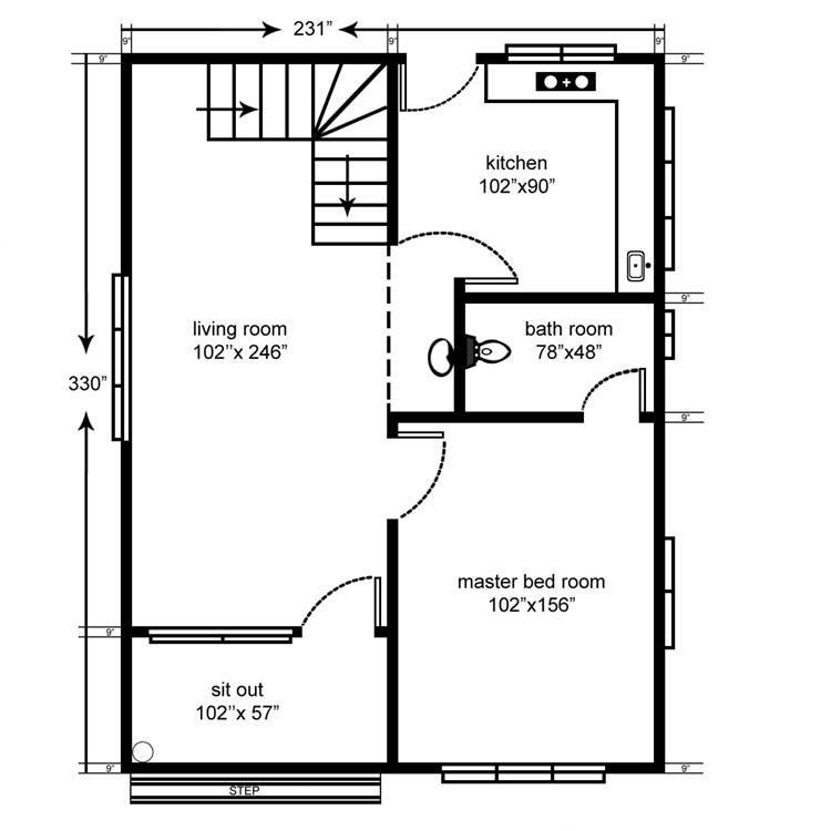 1100 square feet 3 bedroom double floor home design and for 1100 square feet