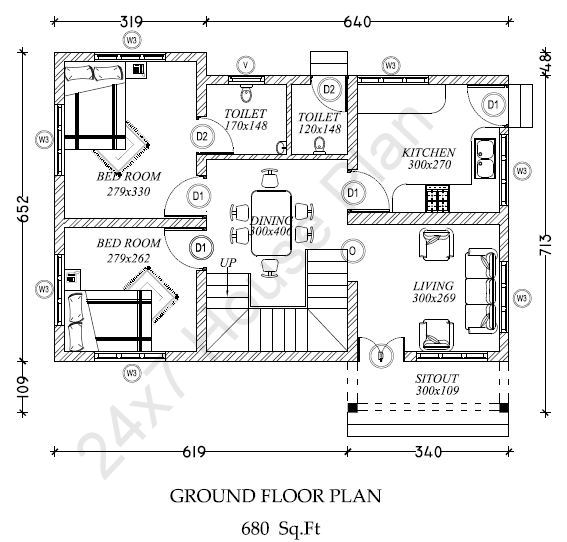 843 square feet 2 bedroom low cost contemporary modern for Low cost per square foot house plans
