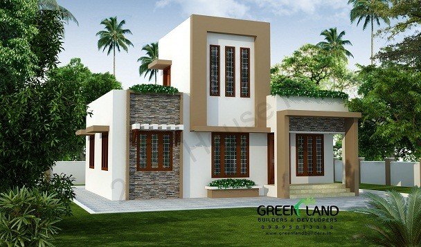 843 Square Feet 2 Bedroom Low Cost Contemporary Modern Single Floor Home Design and Plan