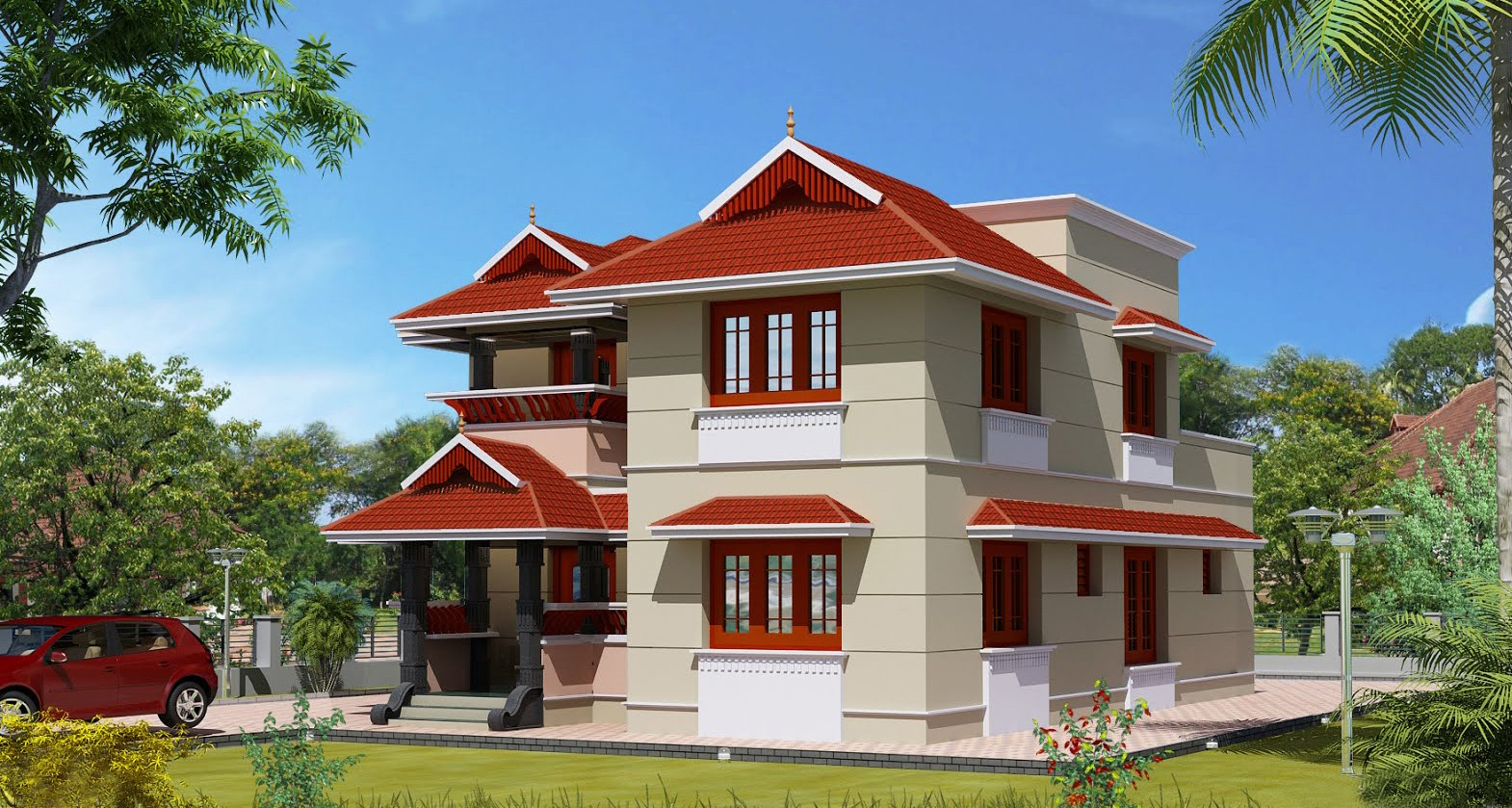 1700 square feet 4 bedroom kerala traditional style double for Kerala home designs photos in double floor