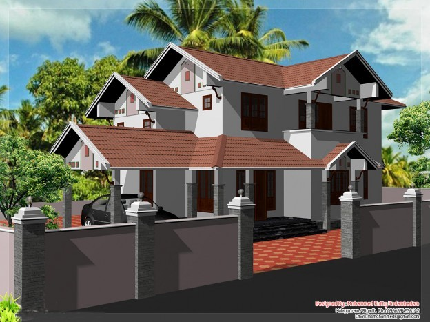 2000 square feet 4 bedroom kerala style traditional model for Simple house plans 2000 square feet