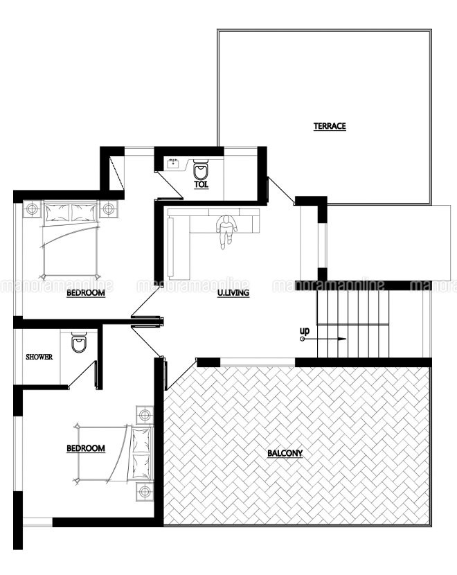 2200 square feet 4 bedroom double floor contemporary for 2200 square foot house plans