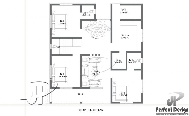 1180 square feet 3 bedroom single floor home design and