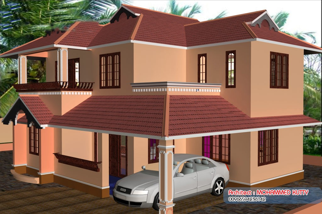 2085 square feet 4 bedroom double floor slop roof home for Interlocking brick house plans