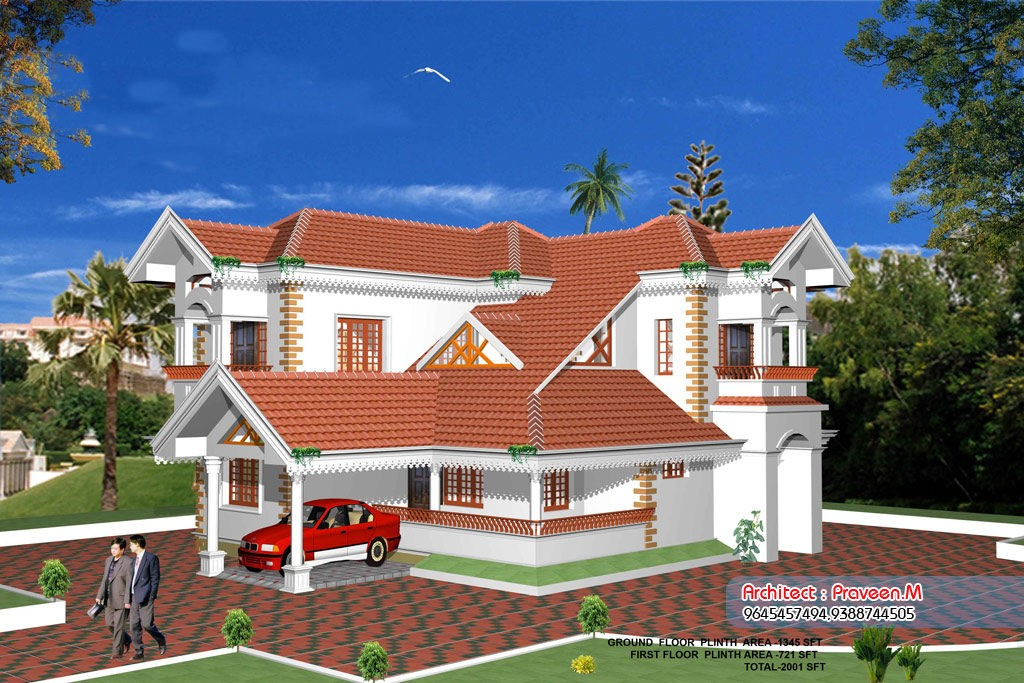 2001 Square Feet 4 Bedroom Traditional Style Home Design and Plan