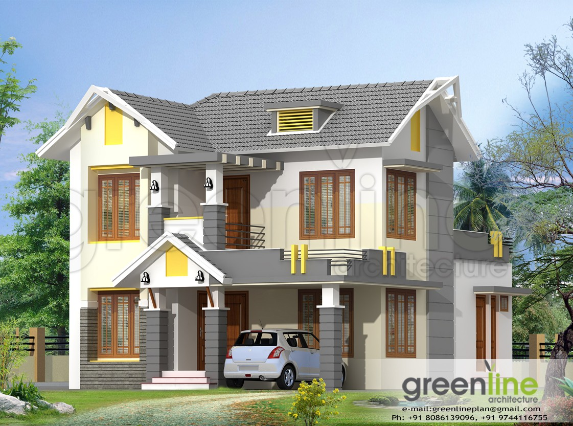 Photo of 1650 Square Feet 3 Bedroom Double Floor Sloping Roof Home Design