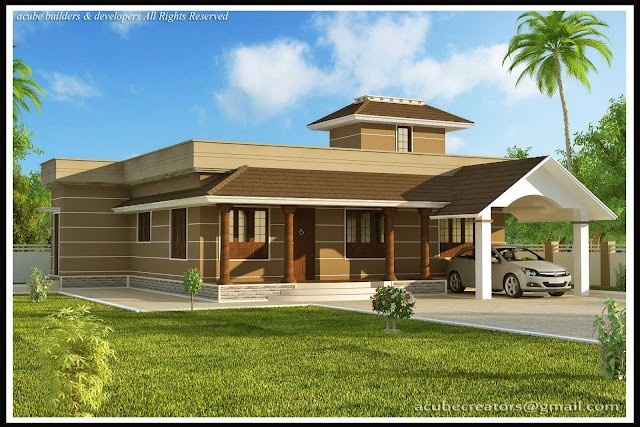 1400 square feet 3 bedroom single floor kerala style for Single storey 3 bedroom house plans in kerala