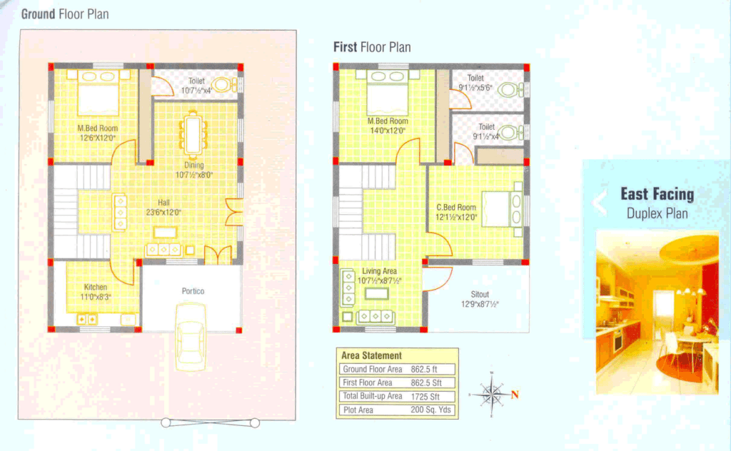 1725 square feet 3 bedroom double floor home design with for Luxury duplex house plans