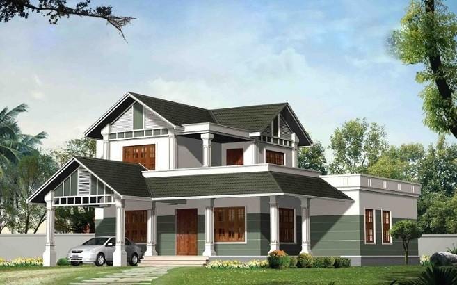 Double Floor Modern Elevation : Square feet bedroom double floor modern home design
