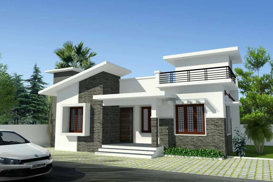 750 square feet 2 bedroom single floor contemporary modern for Modern one bedroom house plans