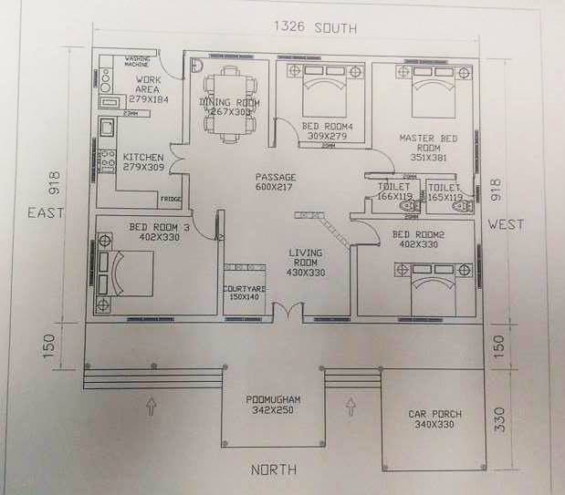 1500 square feet 4 bedroom single floor nalukettu model for House plans below 1500 sq ft kerala model