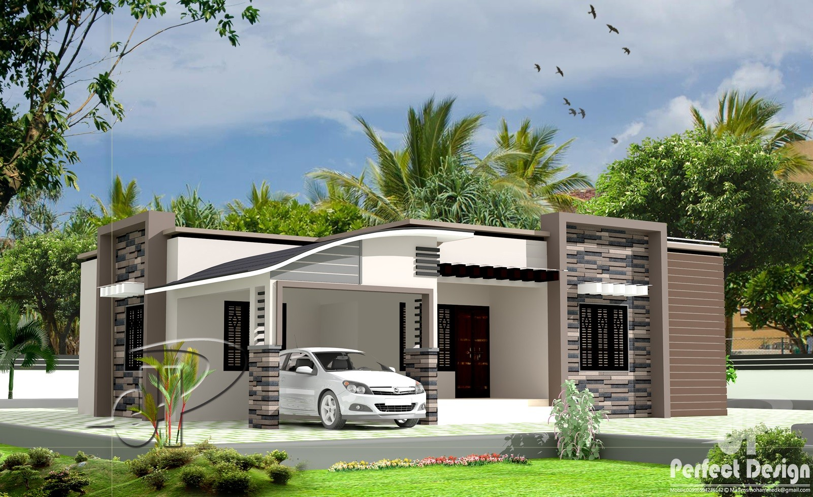1300 Square Feet 3 Bedroom Single Floor Modern Home Design ...
