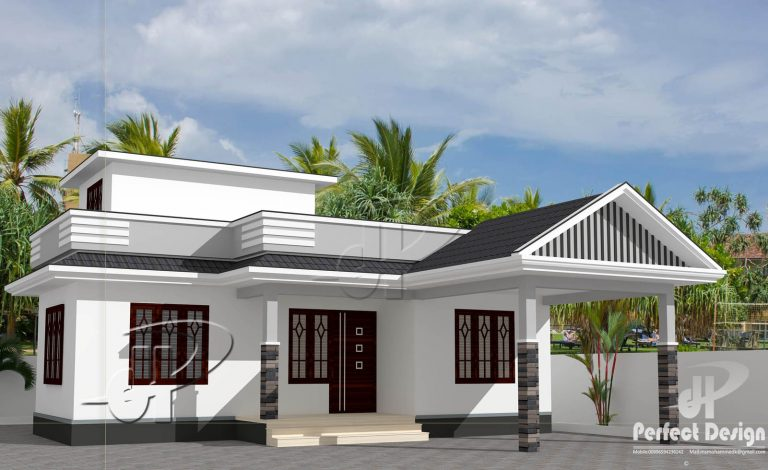 734 Square Feet 2 Bedroom Single Floor Home Design with Plan - Home