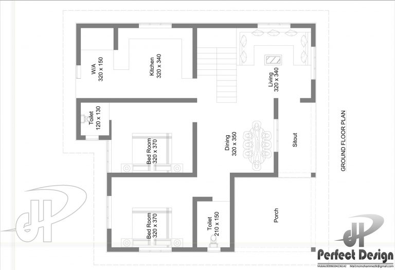 1025 square feet 2 bedroom low budget single floor home for Low cost per square foot house plans