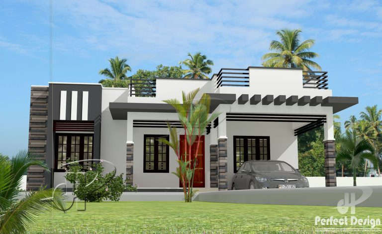 1044 square feet 3 bedroom contemporary modern single for Modern 1 bedroom house plans
