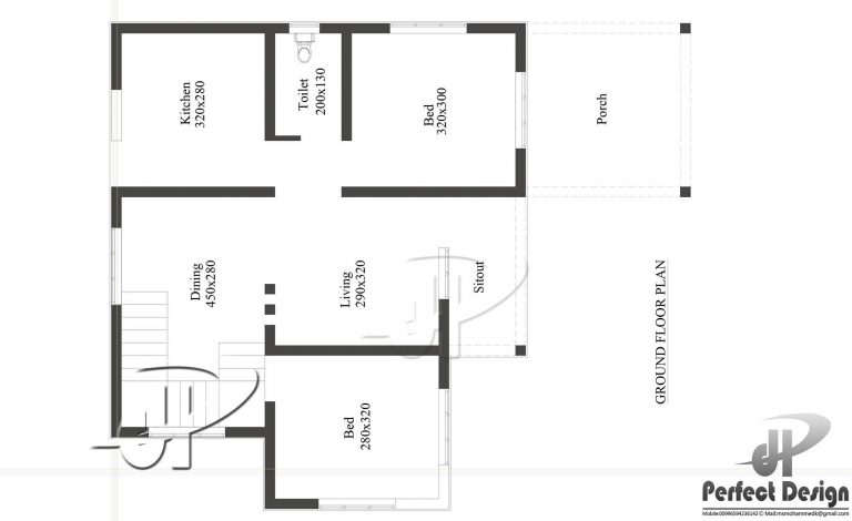 732 square feet 2 bedroom single floor low budget home for Low to floor single bed