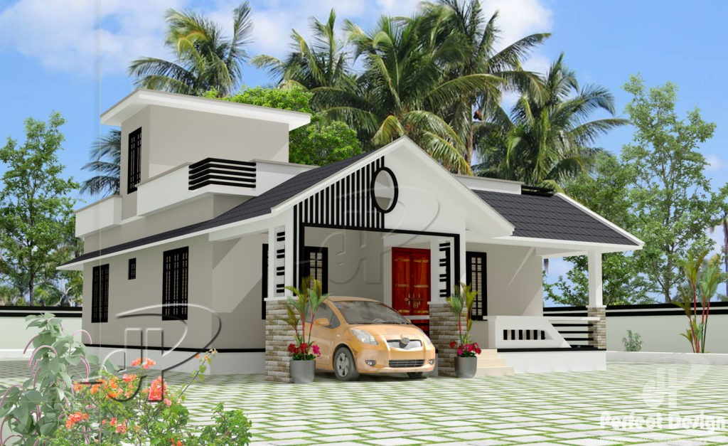 957 Square Feet 2 Bedroom Modern Single Floor Home Design and Plan