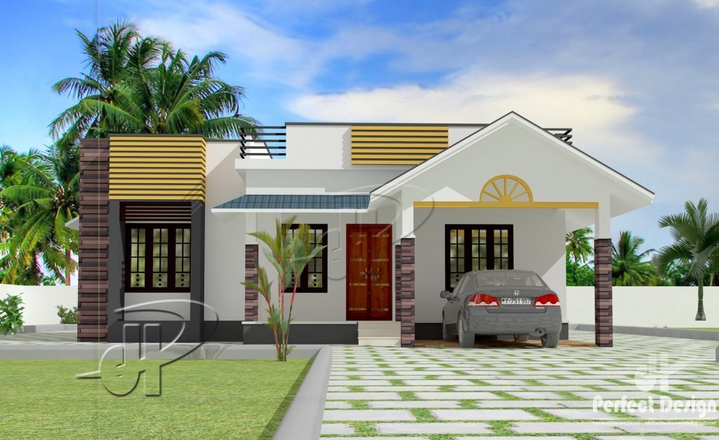 1087 square feet 3 bedroom modern single floor home design for Modern 1 bedroom house plans