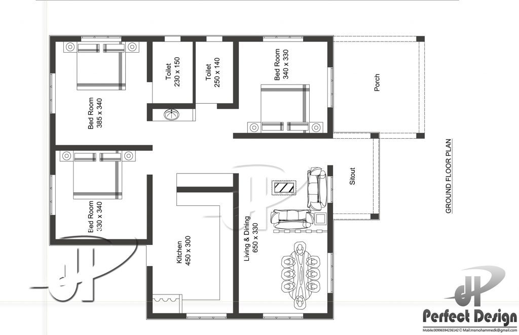 1087 Square Feet 3 Bedroom Modern Single Floor Home Design