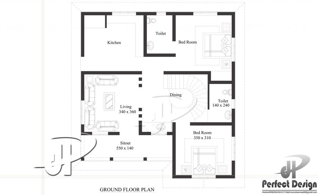 968 square feet 2 bedroom single floor low budget home for Low to floor single bed