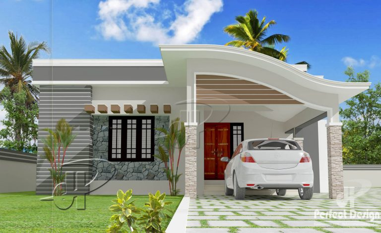 1001 Square Feet 2 Bedroom Modern Single Floor Home Design and Plan