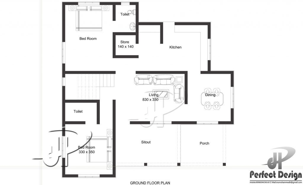 1129 Sq Ft Single Floor Home Part - 25: 1129 Square Feet 2 Bedroom Single Floor Home Design And Plan