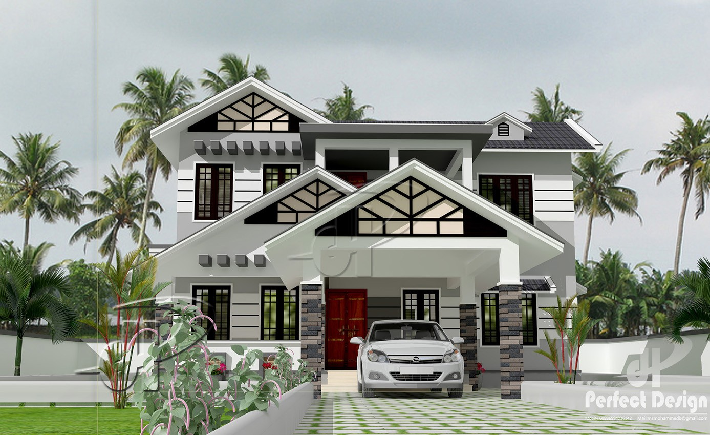 1851 Square Feet 4 Bedroom Modern Double Floor Home Design
