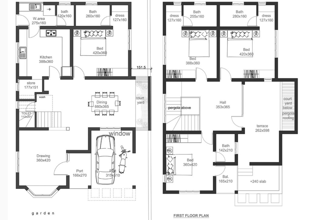 2400 square feet 4 bedroom double floor home design and for Modern house plans 2400 sq ft