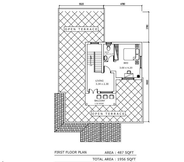 1956 square feet 3 bedroom double floor modern home design