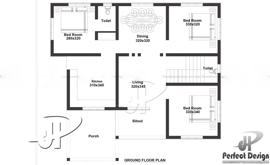 1000 Square Feet 3 Bedroom Single Floor Modern Home Design Plan on Kerala Furniture Designs