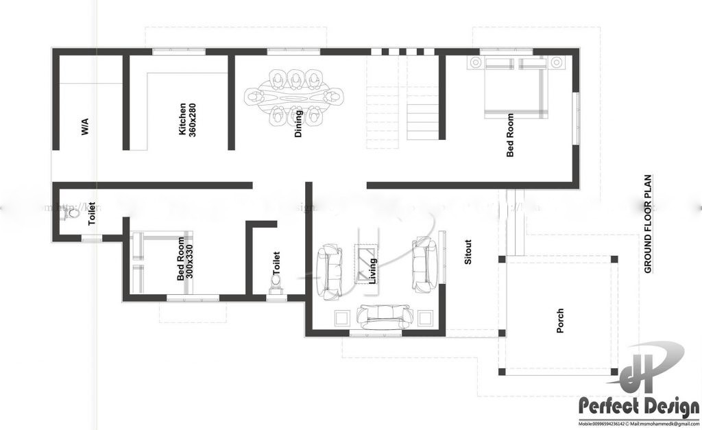 1075 square feet 2 bedroom single floor modern beautiful for Bedroom layout ideas for square rooms