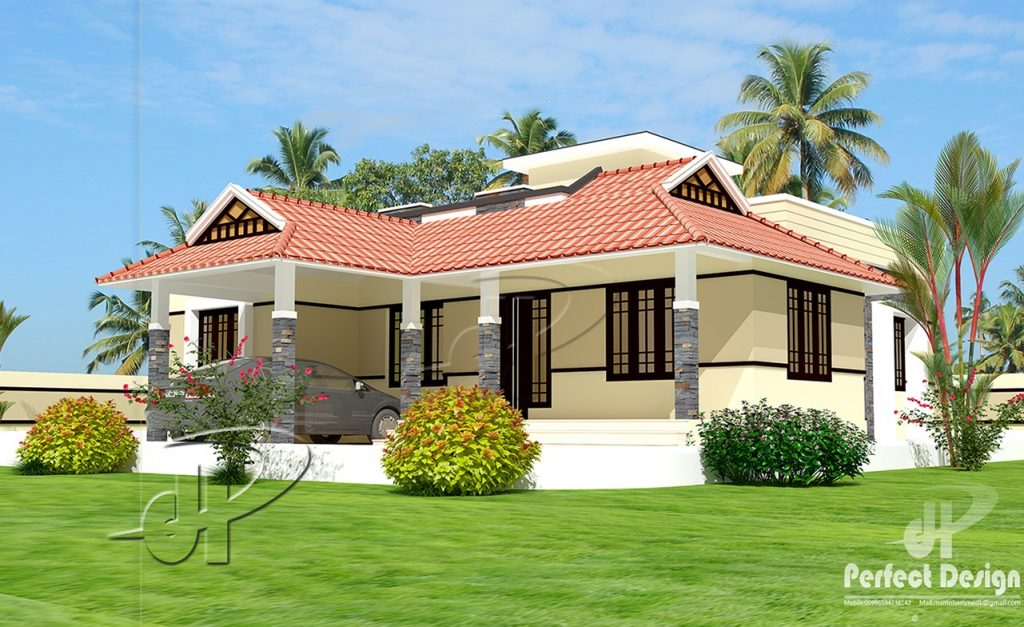 1086 Square Feet 2 Bedroom Traditional Style Single Floor Home Design and Plan