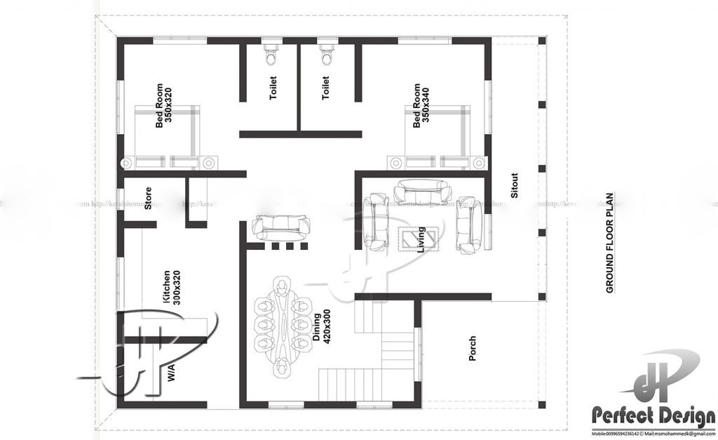 1131 Square Feet 2 Bedroom Single Floor Home Design and Plan (2)