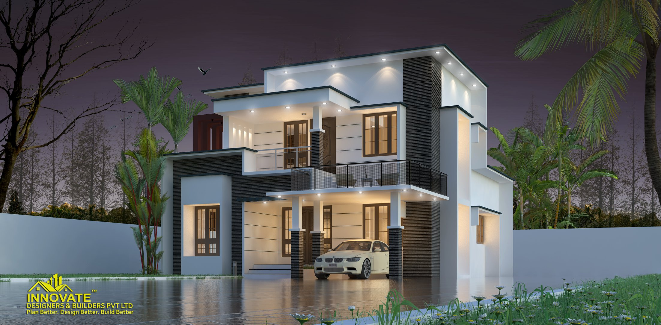 1675 Square Feet 3 BHK Double Floor Modern Contemporary Home Design ...