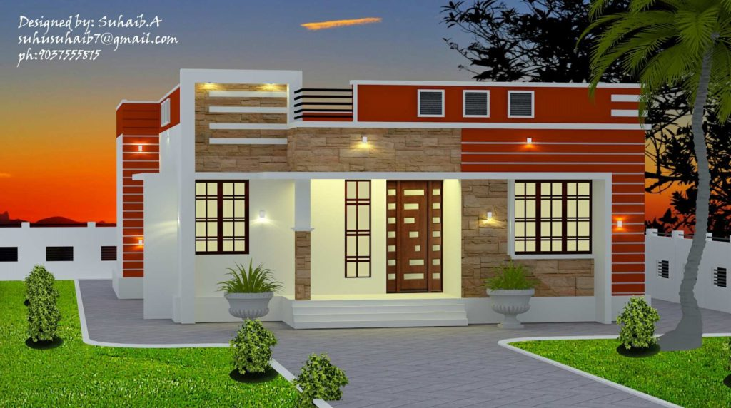 1005 Square Feet 3 Bedroom Single Floor Modern Home Design and Plan ...