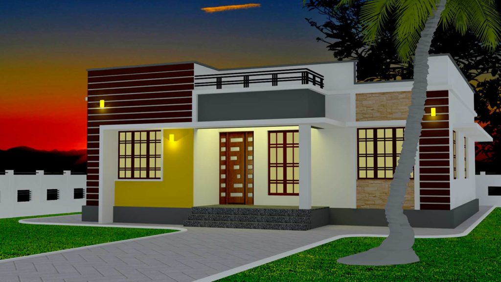 1110 Square Feet 3 Bedroom Low Budget Modern Home Design ...