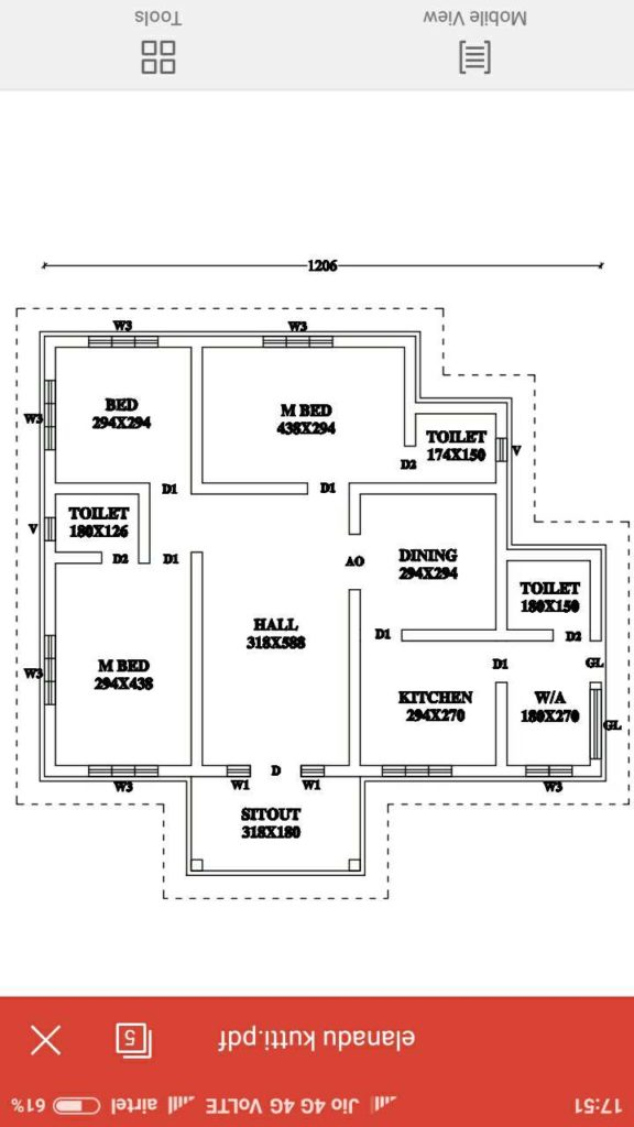 1300 Square Feet 3 Bedroom Single Floor