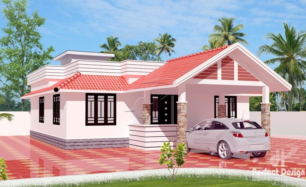 1050 Square Feet 2 Bedroom Traditional Style House Design and Plan
