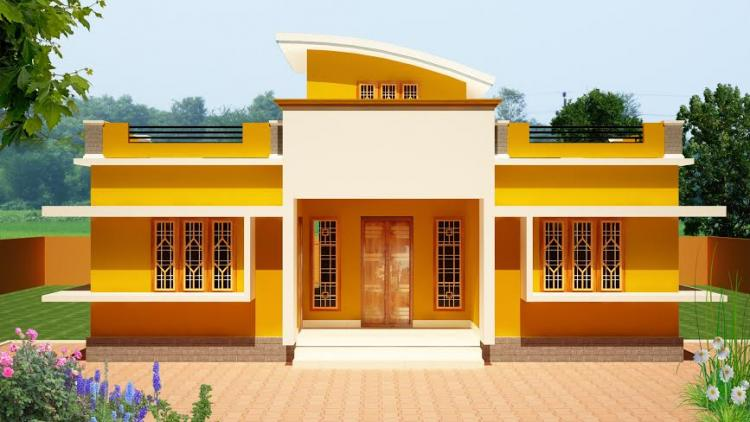 1100 square feet 3 bedroom single floor low budget home for Low budget modern 3 bedroom house design