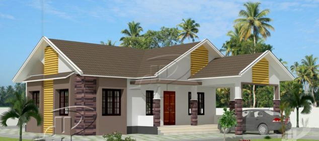 1101 Square Feet 3 Bedroom Modern Single Floor Home Design and Plan