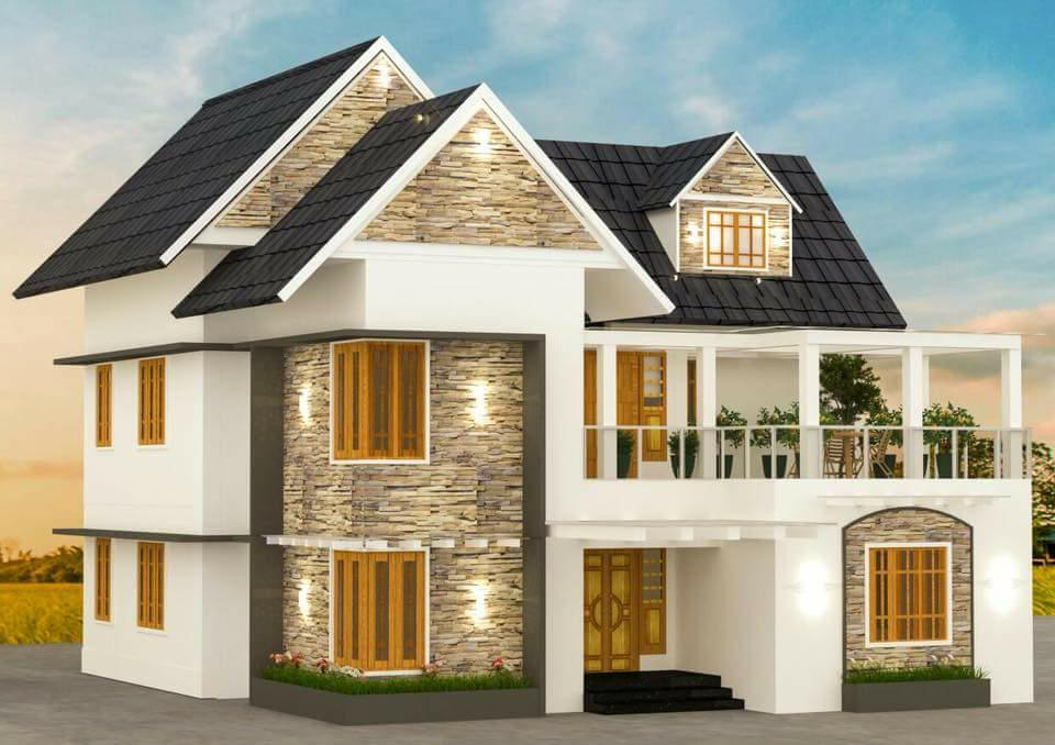 2412 Square Feet 4 Bedroom Slop Roof Modern Home Design and Plan