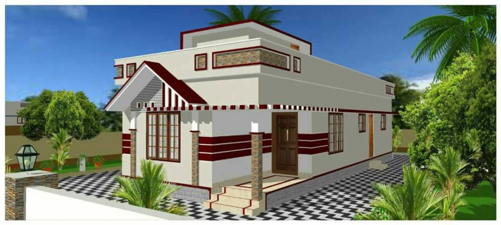 888 Square Feet 2 Bedroom Low Budget Modern Home Design And Plan