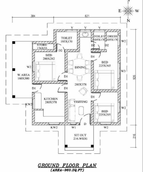 960 Square Feet 3 Bedroom Single Floor Low Budget Home